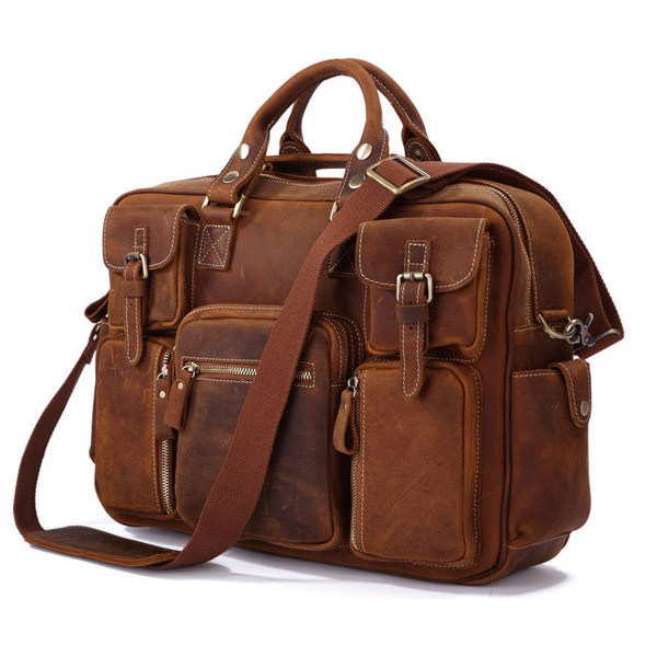 Hot Sell Rare Crazy Horse Leather Men's Business Briefcase Laptop Bag Dispatch Shoulder 7028B-1