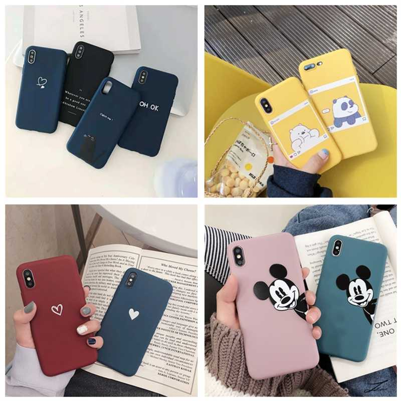 Liefde Hart Brief Print Telefoon Case Voor iphone XS Max XR X 8 7 6 6S Plus 5 Luxe soft Matte Silicon Cover Voor iphone 7plus