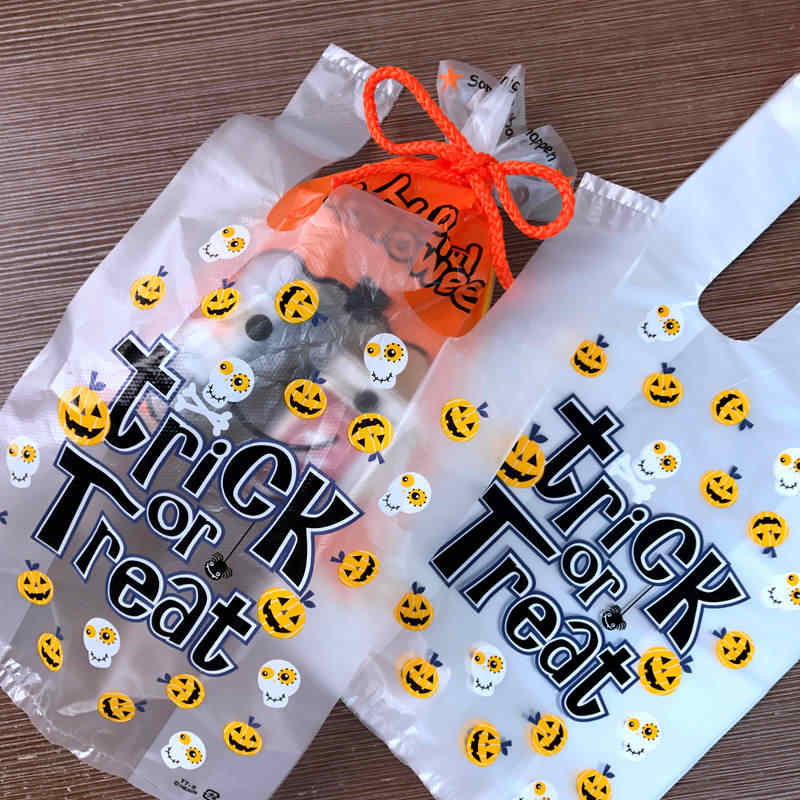 100pcs Halloween pumpkin Supermarket shopping bag vest Plastic bags with handle snack boutique clothing Milk tea packing bags
