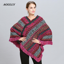 все цены на Coat Woman desigual Poncho Fringed Ponchos And Capes Knitting Cashmere Shawl Bat Pullover Knit Stole Autumn Winter New Scarf 115