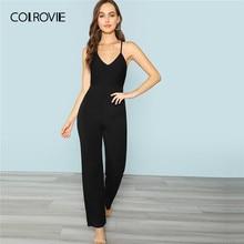 471929d5d381 COLROVIE Black Backless Spaghetti Strap Culottes Wide Leg Sexy Jumpsuit  Women 2019 Summer Sleeveless High Waist Beach Jumpsuits
