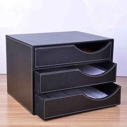 Деревянный кожаный 3 ящика A4 Настольный шкаф для документов, офисный стол, держатель для журнала, органайзер, подставка для файлов, ящик 623A