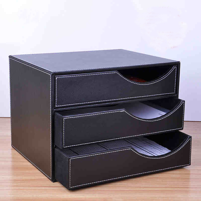 Wood Leather 3 Drawer A4 Desktop File Cabinet Office Table Doent Magazine Holder Organizer Tray Filing Stand 623a