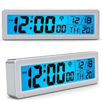 Waves Movement LCD Digital Thermometer Alarm Clock Big Numbers Time Date Week Display Home Glowing 2
