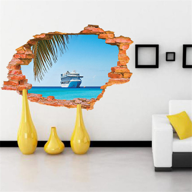 beautiful ocean scenery home decoration wall stickers living room