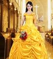 Beauty and the Beast Belle amarelo Cosplay Traje Vestido de Período