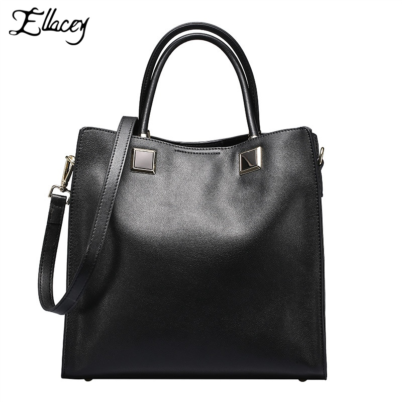 ФОТО 2016 Fashion Genuine Leather Bags For Women Famous Brand Casual Tote Shoulder Bag Women Leather Handbags Solid Thread Totes Bags