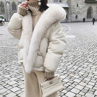 YNZZU 2018 New Winter 90% White Duck   Down     Coat   Women Solid Chic with Large Real Fur Collar Warm Outwears Winter Snow   Coat   O697