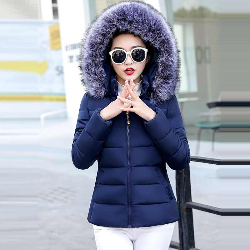 Grote bont Nieuwe 2019 Winter Jas vrouwen Plus Size S-5XL Womens Parka Thicken Bovenkleding hooded Winter Jas Vrouwelijke Jas Basic tops