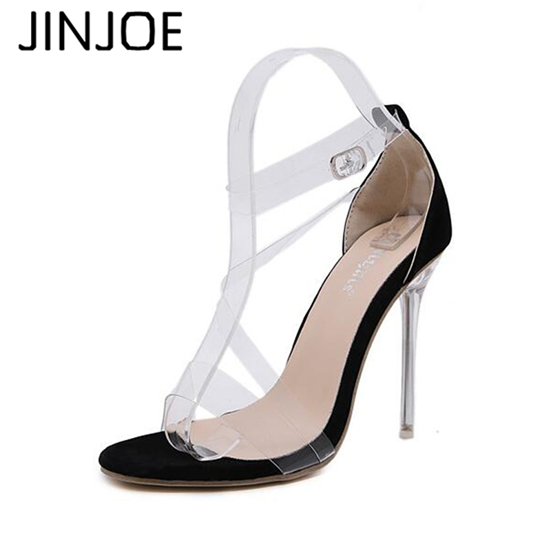 JINJOE Women Transparent Buckle Strap Flock PVC <font><b>Sandals</b></font> Pump 2018 Slip On High Heels <font><b>12</b></font> <font><b>CM</b></font> <font><b>Sandals</b></font> Lady Sexy Shoes image