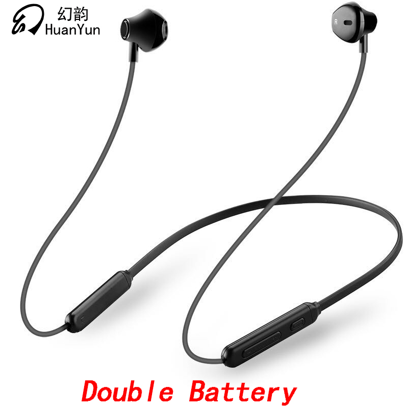 Huan Yun Bluetooth Earphone Wireless Neckband Sport Magnetic Double Battery Bluetooth Headphone Headset Stereo Bass with Mic