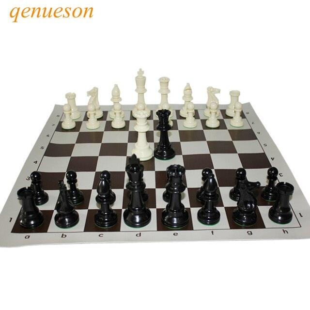 Jeu d'échecs Standard International, compétition King de 97mm, grand jeu d'échecs en plastique avec 4 jeux de société queen qenueson 1