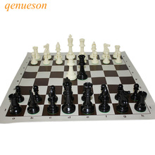 International Standard Chess Game Set Konkurrence King 97mm Stor Plastic Chess Set med Chessboard 4 dronning Board Games qenueson