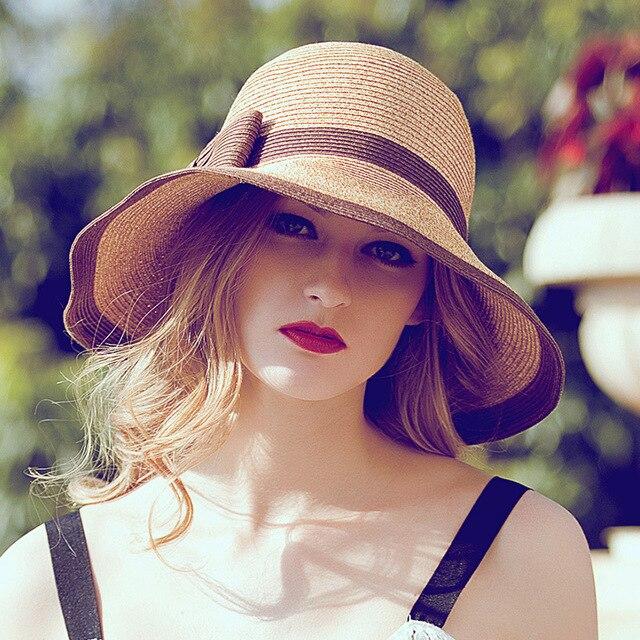 Multicolor Llegada de La Manera Elegante de Las Mujeres Sombrero de Verano Playa Sombrero para el Sol Sombrero de Pescador Sombrero de Paja Puede Ser Doblado Venta Directa de Fábrica
