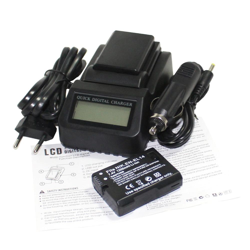 2x bateria EN-EL14 EN EL14 Caméra Batterie + LCD Chargeur Rapide pour Nikon COOLPIX P7000 P7700 P7800 D3100 D3200 D3300 D5100 D5200