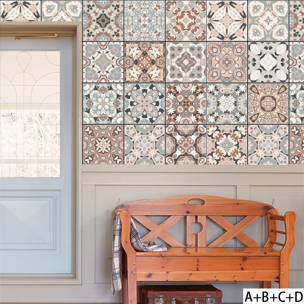 Arabischen Stil Muster Retro Fliesen Aufkleber PVC Bad Küche Taille ...
