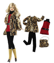 NK One Set Doll Dress Fashion Leopard Coat Modern Outfit Daily Casual Wear Bag For Barbie Doll Accessories Gift Baby Toys 91C(China)