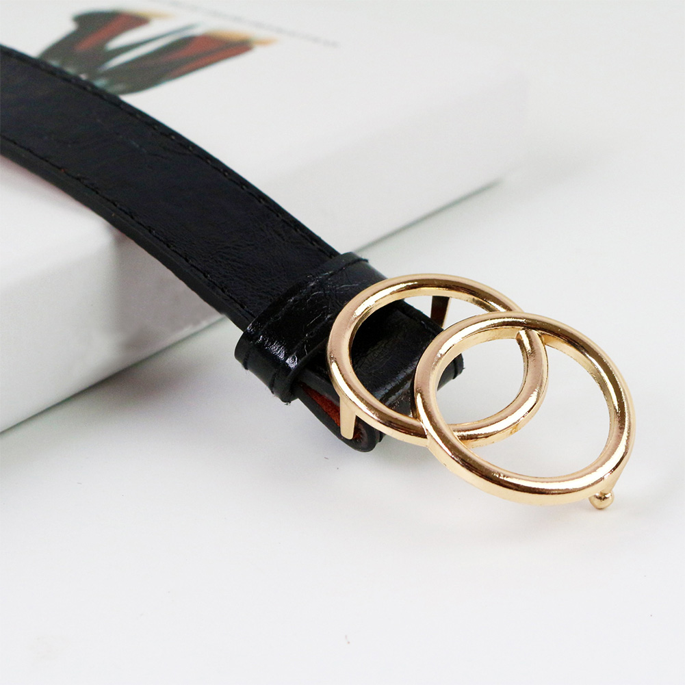 Women Belt Tighten Decorative Double-Ring-Buckle Faux-Leather Female Vintage Solid-Holes