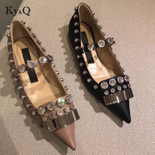 b7a92b0f49 Buy pointed toe flats rhinestone brand and get free shipping on ...
