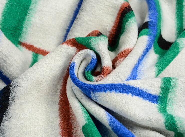 Mixed color geometric elasticity wool fabric coat ,printing Textile hollandais african sequin Christmas cloak fabric A133