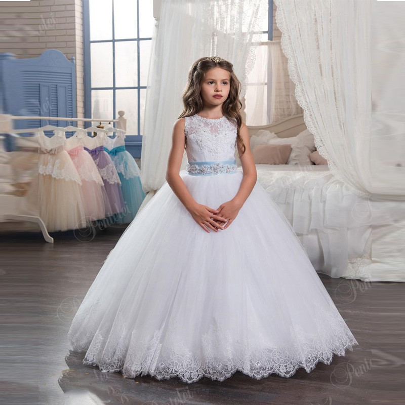 Flower Girl Dress Beaded Belt Appliques Tulle Ball Gown Pageant Gowns Hot Sale High Quality with Tiered Vestidos Longo New 0-12Y