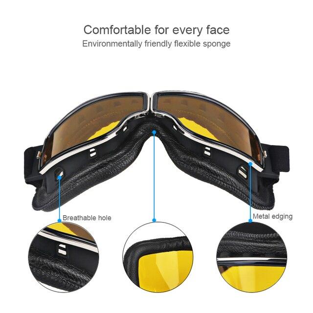 Herorider Universal Vintage Motorcycle Goggles Pilot Aviator Motorbike Scooter Biker Glasses Helmet Goggles Foldable For Harley 3