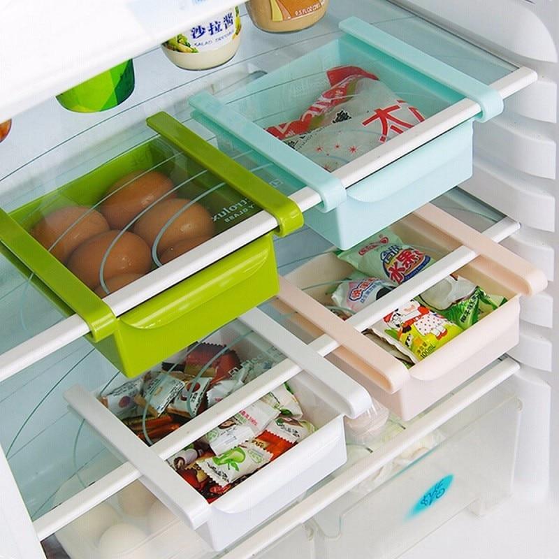 New Plastic Kitchen Refrigerator Storage Rack Fridge Freezer Shelf Holder Pull Out Drawer Organiser Space