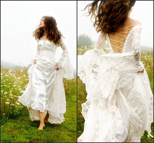 Vintage Wedding Dresses With Bell Sleeves: Gothic Celtic Wedding Dress 2019 Vintage Lace Bell Sleeve