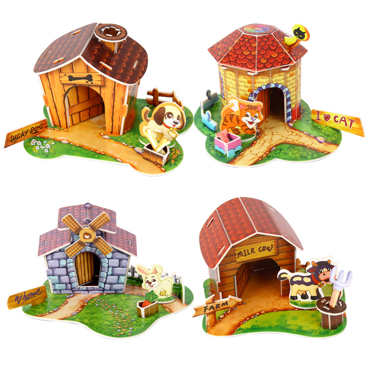 3D Paper Puzzle Handmade Assembled Cartoon Pet Animal House Model DIY Children's Kids Toy Birthday Gift Creative Puzzles