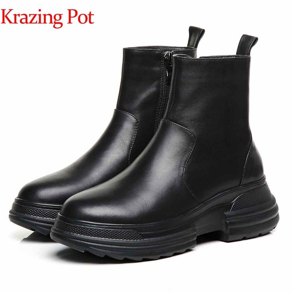 Krazing Pot nouveau cuir véritable stretch tissu moto bottes punk sans lacet loisirs fond épais style britannique bottines L0f3