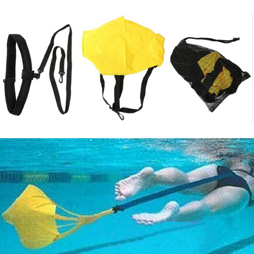 Water Tether Swim Training Belt Adults Children Exerciser Belt Traction Swim Resistance Brake Belt Cords Drag W/ Drag Parachute