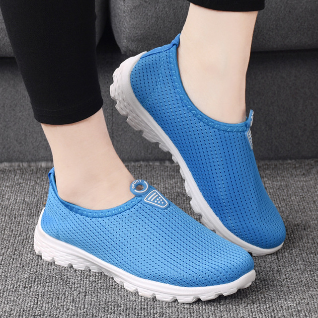 Summer Women s Sport Ventilation Breathable Lightweight Hollow Out Net  Cloth Shoes Running Shoes Female Sneakers Mesh 1a900eb58
