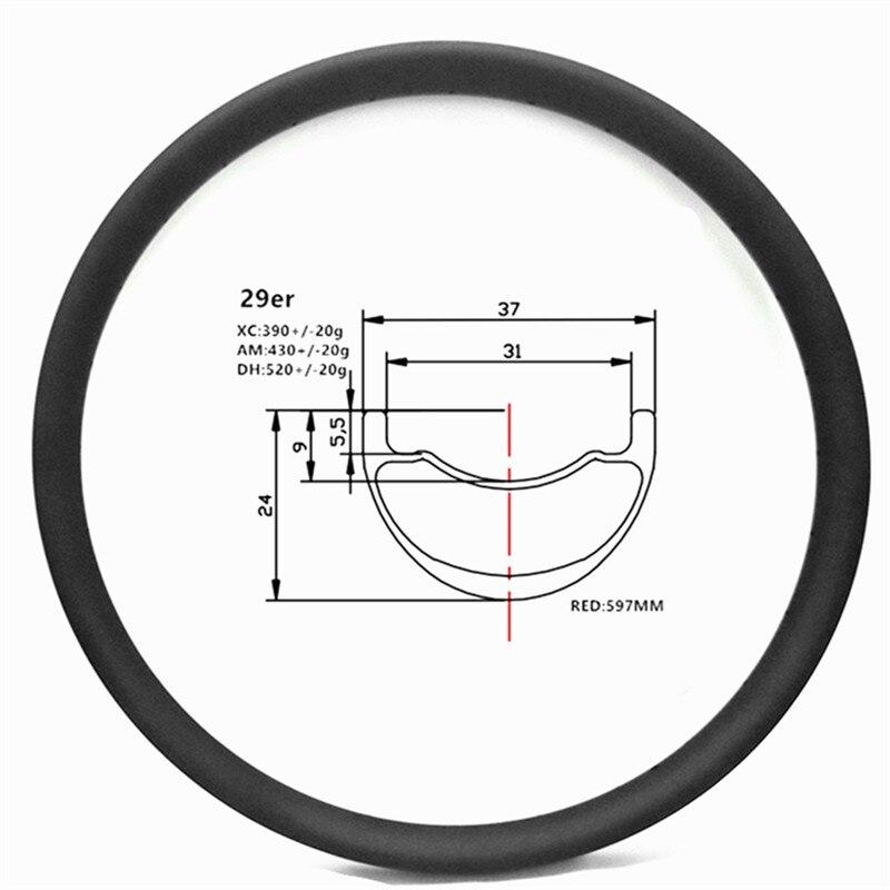 Graphene 29er carbon mtb rims disc tubeless hookless 37x24mm symmetry carbon rim mtb disc bicycle rims XC 390g AM 410g