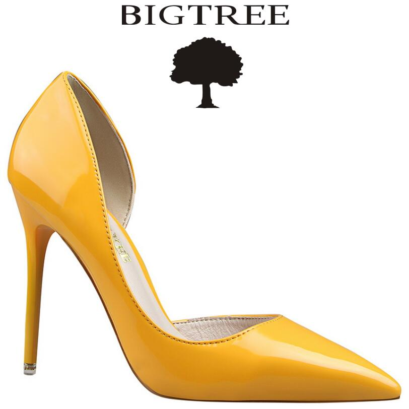 BIGTREE Brand Shoes Woman  Women Pumps Sexy Two Piece Patent Leather High Heels Women's Work Shoes sapatos femininos de salto square heels 7 5 cm sapatos femininos high heels shoes woman round toe patent leather spring pumps t strap comfortable shoes