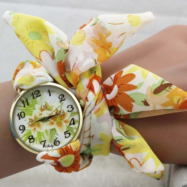 shsby unique Ladies sunflower cloth wristwatch fashion women dress watch Silky chiffon fabric watch sweet girls Bracelet watch