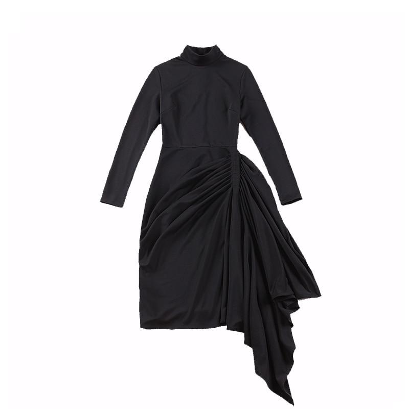 Grande Rétro Élégant Roulé 2018fw De Col Classique Palais S 50 Drapé Robe Mat Noir Hauteur Le Cru Mince zqpwnan7