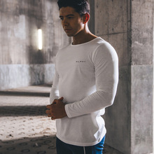 ACHIEWELL Autumn New Mens Fitness Muscle-Building Casual Cotton Stretch Tights Slim Long-sleeved T-shirt