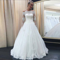 Long Sleeves Off Shoulder Tulle Wedding Dress with Lace Appliques Puffy Ball Gowns For Wedding Robe De Mariee New Arrivals Longo