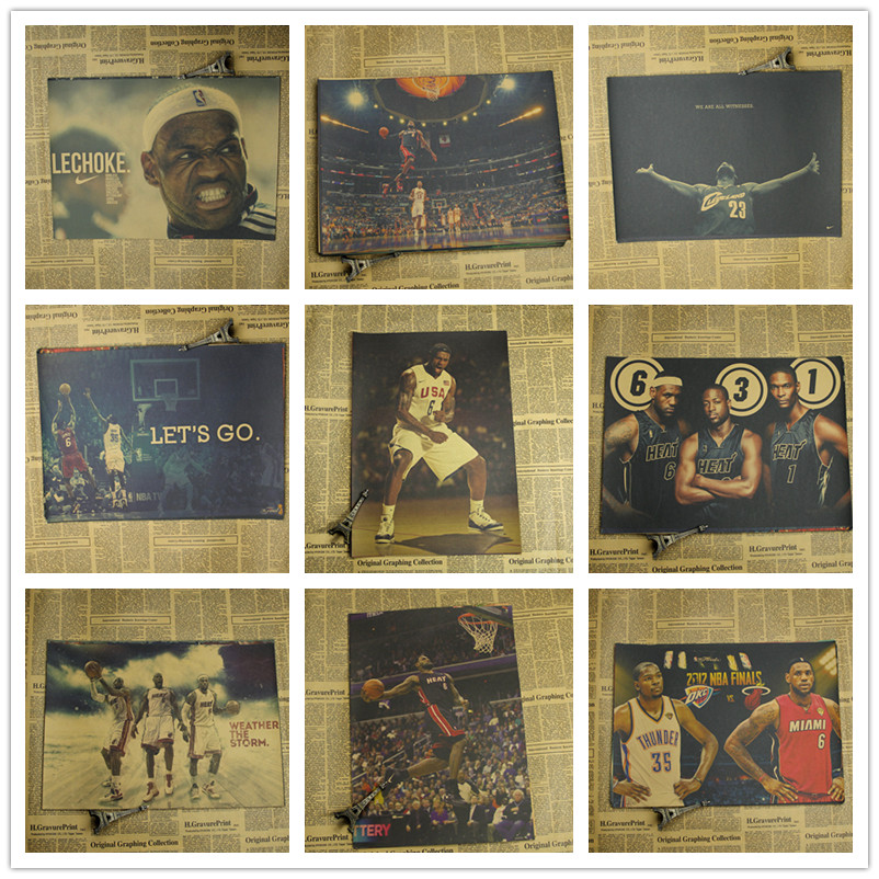 Classic James poster NBA star stickers paper kraft paper all star dunk picture making Bar Cafe Interior decoration painting