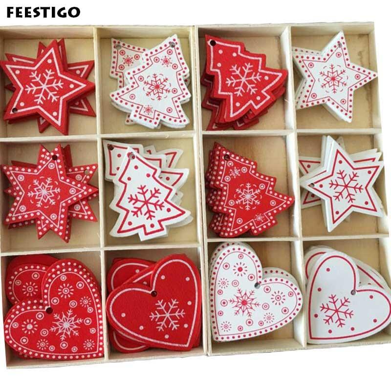 1pcs Red Christmas Wooden Love/Heart/Star Tree Hanging Ornaments Christmas Tree Hanging Decoration Xmas Tree Decor Kids Gifts
