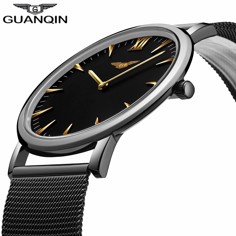 ФОТО GUANQIN New Fashion Men's Ultra Thin Quartz Watches Men Luxury Brand Business Clock Stainless Steel Mesh Band Waterproof Watch