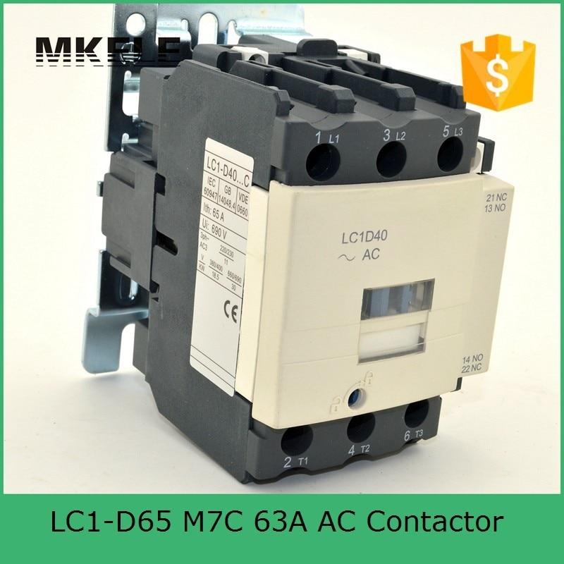 цена на LC1-D65 M7C 65A AC Motor Control Contactor Electrical Magnetic Coil 24V 36V 48V 110V 220V 380V Voltage telemecanique