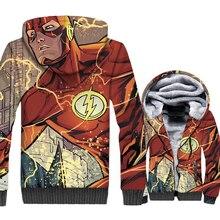 Superhero Mens Clothing 2018 Fashion Winter Thick Jacket For Men Streetwear Hoodies Hip Hop The Flash Zipper Sweatshirts