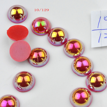 FLTMRH 30pcs 10mm AB half Cheap Round Shape Imi tation Pearls Beads Handmade Bracelet Jewelry Aces Making Wholesale image