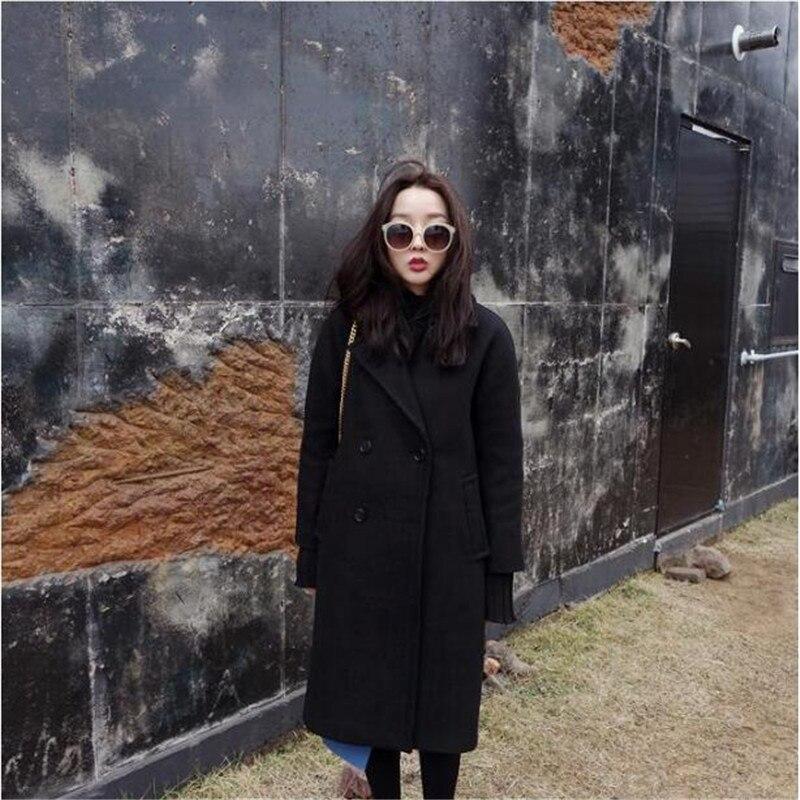 Printemps Double Manteau Élégant De 2019 Noir Couleur Femmes Black Vêtements D'hiver Lâche A3982 Chaud Mélange Laine Femelle Boutonnage vSvqwtf1