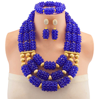 african beads jewelry set for wedding nigerian jewelry set for women necklace and earrings blue color free shipping
