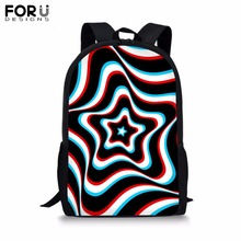 FORUDESIGNS Customize School Bag for Teenager Girls Boy Dot&stripe Print Backapck Childrens BookBag Student Mochila Bolsa