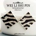 $10 (ordem da mistura) Frete Grátis Coreano Moda Imitação de Diamante Listrado Preto & Branco Caixa de Esmalte Brincos Do Parafuso Prisioneiro jóias