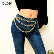 OLOEY 2019 Sexy Women Belly Chain Simple Punk Tassel Multi-Layer Body Chains Jewelry Female Geometric Pendant Waist