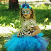 Narwhal Bustle Girl Tutu Skirt Costume Blue Unicorn Halloween Costume Girls Baby Toddler Little Girls Outfit With Headband 2018